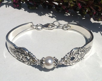 Vintage Silver Spoon Bracelet, Pattern name: Distinction, circa 1951, Repurposed, Upcycled, Silverplate Spoon and Fork Jewelry