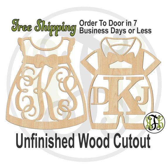 Girl Dress or Boy Romper 3 Letter Monogram - 20016M3or 10034M3- Custom Cutout, unfinished, wood cutout, laser cut wood, wood cut out, Shower