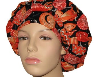 Halloween Fangtastic Pumpkins-Bouffant Scrub Hats-ScrubHeads-Scrub Hats For Women-Holiday Scrub Hats-Scrub Caps-Surgical Scrub Caps-Gifts