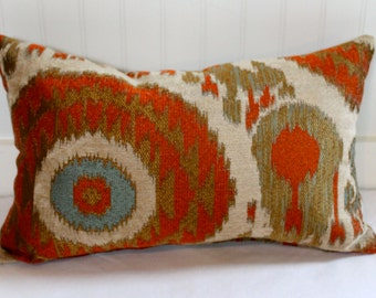 IN STOCK / Terracotta, teal, gold, beige Ikat Pillow Cover / 16 X 20 / Same fabric both sides