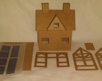 Little Village Christmas Houses- DIY Cardboard Putz House-  Tudor