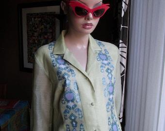 Vintage Alfred Shaheen dress.Vintage floral print dress.