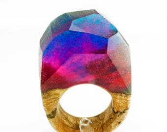 Space Nebula Wood Resin Ring, Galaxy Resin Rings, Resin and Wood Ring, Wood Ring, Ecopoxy Jewelry, Wood Rings for Women, Wood Resin jewelry