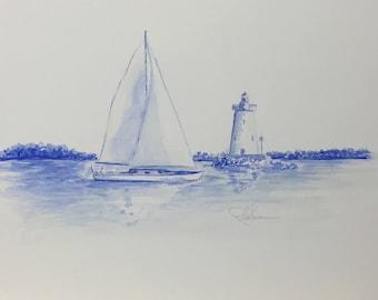 Sailboat and lighthouse1 - Original Watercolor