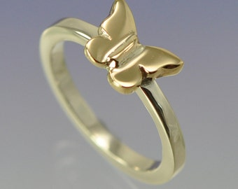 9k Yellow Gold Butterfly on 9k White Gold Ring.