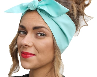 Pastel Green Land Girl Rockabilly Pinup 50s Vtg Style Head Scarf