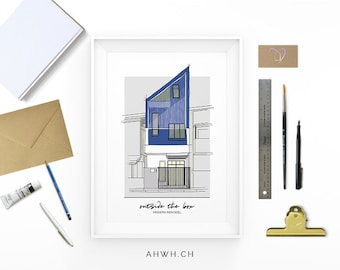 House in a row - Modern architecture. Building sketch. town house.