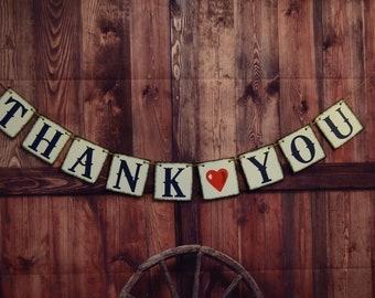 Thank you sign, Wedding Banner,Thank you Banner, Wedding Decoration, Rustic wedding, Thank you Garland, Wedding reception