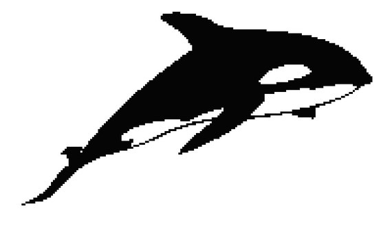 killer whale counted cross stitch pattern orca outline pixel - Whale Outline