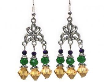 Mardi Gras Chandelier Earrings