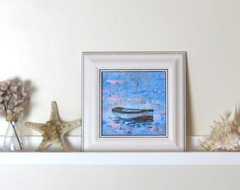 "Blue Impressionist Painting. "" Adrift"" Original Art. Acrylic Painting. Original Painting. Nautical Decor. Wall Art. Blue Original Art."