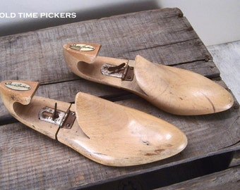Vintage Wooden Shoe Forms - shoe trees - Frank Brothers - wood shoe lasts