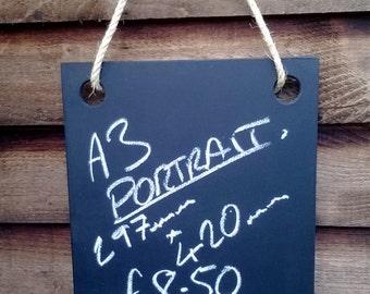 A3 Portrait Double sided Chalkboard - Hanging Frameless Blackboard
