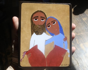 4 ish X 6 ish inch Wedding at Cana byzantine/folk icon on wood