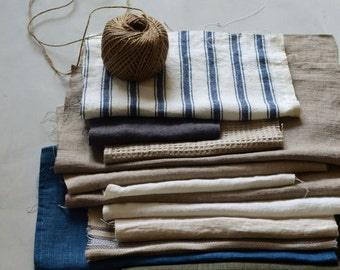 Natural, genuine European linen fabric remnants for scrapbooking and crafts projects. Assorted linen fabrics