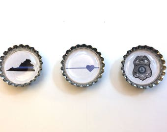 Bottle Cap Magnets - Police - Thin Blue Line - Law Enforcement - Police Wives