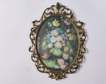 Vintage Domed Floral Print in Ornate Brass Frame, 1920s Convex Glass Oval Wall Hanging, Flowers, Antique Decor, Cottage Chic, Gift for Her