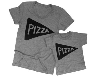 Mommy and Me Outfit Matching Mother Daughter Pizza T Shirt Set - Xenotees