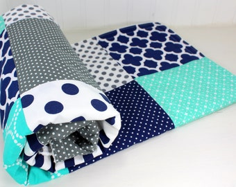 Baby Quilt, Nursery Decor, Baby Blanket, Minky Baby Blanket, Baby Shower Gift, Navy, Blue, Gray, Grey, White, Teal, Turquoise, Baby Boy