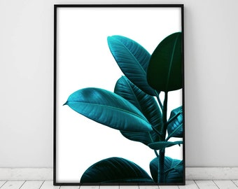 Teal Print,Tropical plant print, Tropical leaf, Tropical wall art, Art print, Botanical decor, Printable wall art, Teal large poster, Print