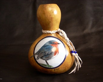 Hand Painted Gourd- English Robin