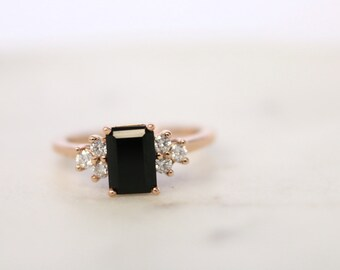 14k Rose Gold, Onyx and Diamond, Gemstone Engagement Ring