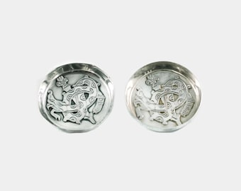 Vintage William Spratling Sterling Silver Pin Dishes with Quetzalcoatl Plumed Serpent Motif