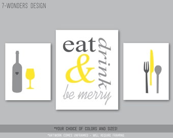 Eat Drink and Be Merry Modern Kitchen Art Print Set of (3), 2 Size Options - Yellow and Gray // Wine, Utensils, Kitchen Wall Art - Unframed