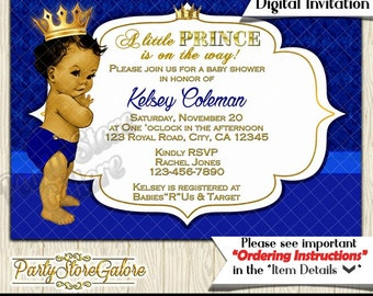 Boy baby shower invitations vintage royal prince african royal blue and gold boy prince baby shower invitations vintage invite african american avail personalized digital filmwisefo