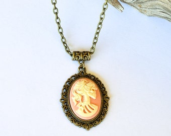 Peach Skull Cameo Necklace / Skulls / Antique Bronze Necklace / Gift For Her / Lolita Jewelry /Goth Necklace/Pink and Ivory/Day of the Dead