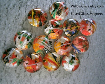 Fused Glass Magnets with Japanese Washi Paper,  13 Paper and Glass Magnets by Willow Glass