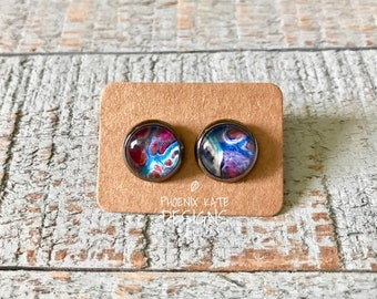 Acyrlic flow art earrings, 10mm gunmetal studs with cabochon