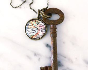 Buffalo Vintage Map Skeleton Key Necklace - Buffalo Key Necklace - Buffalo Necklace - Buffalo Jewelry