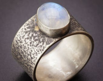Oval moonstone ring, dark textured sterling silver band, organic