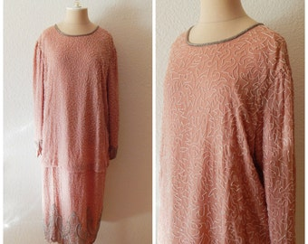 Art Deco 20s Flapper Style Silk Beaded Long Sleeve Pink Silver Formal Cocktail Dress