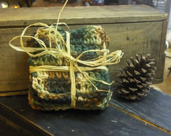 Woodland Handmade Crocheted Coasters. Home, Cabin, Lodge Decor. Rustic Gift for Him Mancave.