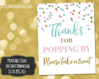 Printable Thanks for Popping By Popcorn Bar Sign 8x10 Light Pink Blue Gold Glitter Confetti Gender Reveal Baby Shower Digital Download