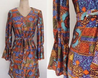 1970's Printed Shift Mod Mini Dress w/ Belt & Unique Sleeves Size Small Medium by Maeberry Vintage