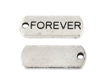 "10 pcs. Antique Silver ""Forever"" Rectangle Charms Pendants - 21mm X 8mm"