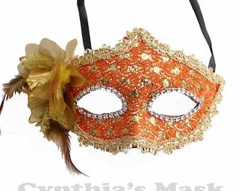 Orange Floral Mask w/Rhinestones and Glitter for Costume Masquerade Ball Dancing  SKU: BZ627H  (7N22)