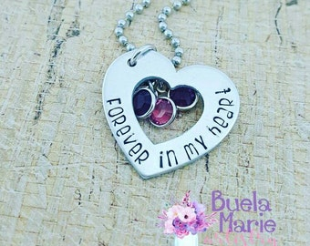 Forever in my heart-- baby loss, memorial, personalized necklace with birthstones