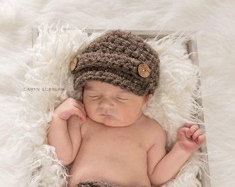 Newborn Boy Hats, Baby Newborn Hat, Baby Boy Hat, Boy Baby Hat, Hat for Baby Boys, Baby Boy Clothes, Baby Boy Beanie, Brown
