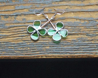 Unique Jewelry - Four Leaf Clover Reclaimed Green Glass Earrings - Stained Glass Earrings - Nature Inspired Earrings - Good Luck Gift