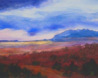 Original 5x7 inch Watercolor Landscape, Sunset Painting, Unframed Painting, Original Watercolour Sunset