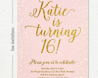 Sweet sixteen invitation black and silver glitter sweet 16 blush pink gold glitter sweet 16 party invitation teen birthday party invite gold glitter filmwisefo