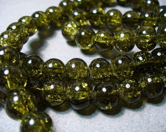 Crackle Glass Beads Olive  8MM