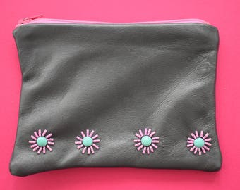 Grey Mini Embellished Pouch