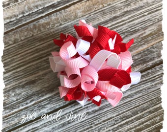 Korker Hair Bow - Valentine's Bow - Small Korker Bow - Pink Red White - Valentine's Day - READY TO SHIP