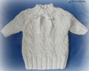 White sleeves 2 3/4, hand knitted sweater