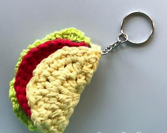 Taco Keychain | Crochet Taco Toy | Amigurumi Taco | Mini Taco Crochet | Taco Keyring | Stuffed Taco Toy | New Driver Gift